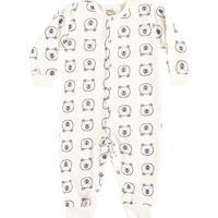 Pijama Bebê Rn Macacão Longo Boca Grande Ursinho - Masculino-Off White