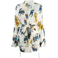 Kirin Jaqueta Kimono Com Estampa De Tigre - Branco