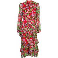 Saloni Vestido Midi Com Babados E Estampa Floral - Vermelho