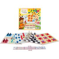 Brinquedo Educativo 5 Em 1 - Dama, Trilha, Ludo, Jogo Velha E Domino Editora Fundamental Azul