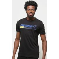 Camiseta Puma Gold Plate Brand Graphic Masculina - Masculino-Preto