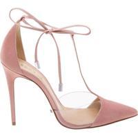 Scarpin Crystal Lace Up Poppy Rose | Schutz