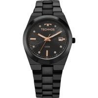59b15fff6b1 ... Relógio Feminino Technos 2115Kzs 5P Pulseira Aço Preta - Feminino-Preto