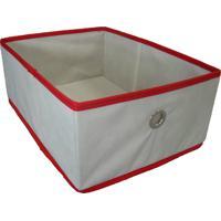 Caixa Organizadora Com Ilhós 28X15X38Cm Organibox Bege/Vermelho