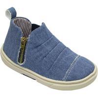 Tênis Jeans Com Recorte - Azul & Bege Claro- Oliveroliver