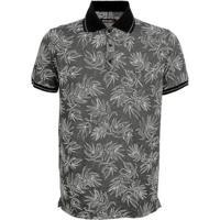 Camisa PoloSurf.Com Piquet Denim Floral Masculina - Masculino-Cinza