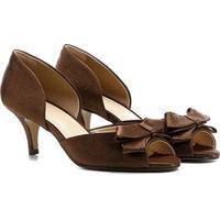Peep Toe Shoestock Festa Baixo Semi Cetim Laço - Feminino