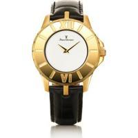 Relógio De Pulso Jean Vernier Pulseira Couro Feminino - Feminino-Preto+Dourado