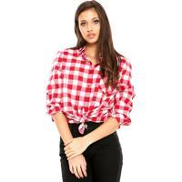 Camisa Facinelli By Mooncity Xadrez Rosa