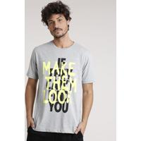 "Camiseta Masculina Esportiva Ace ""Make Them Look"" Manga Curta Gola Careca Cinza Mescla"