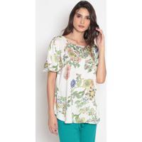 Blusa Floral - Off White & Verde- Cotton Colorscotton Colors Extra