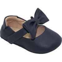 Sapato Boneca Com Tira & Laço - Azul Marinho- Luluzluluzinha