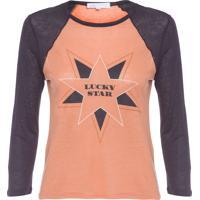 Camiseta Feminina Linho Silk Gabriela - Laranja E Preto
