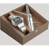 Kit De Relógio Analógico Mondaine Masculino + Canivete - 83398G0Mvne1Kb Prateado - Único