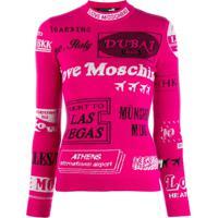 Love Moschino Blusa De Tricô Com Logo - Rosa