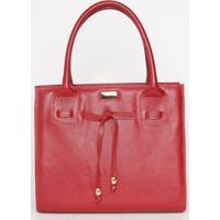 Bolsa Em Couro Com Amarração- Vermelha- 29X34X13Cm