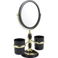 Espelho De Bancada Com Suportes- Espelhado & Preto- Jacki Design