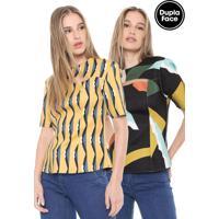 Blusa Morena Rosa Dupla Face Estampada Preta/Amarela