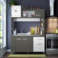 Cozinha Compacta 5 Portas E 1 Gaveta Sem Tampo Manu Gris Demolição/Branco - Soluzione Móveis