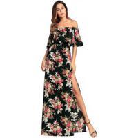 Vestido Longo Com Fenda Estampa Floral Ombro A Ombro