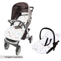 Capa Para Beb㪠Conforto Estampada- Branca & Azul Claro
