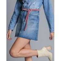 Saia Jeans Cintura Alta Cinto Jeans - Lez A Lez