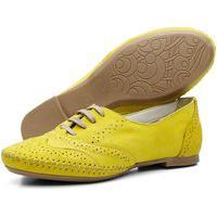 Sapato Oxford Feminino Casual Em Couro Q&A Calçados Amarelo