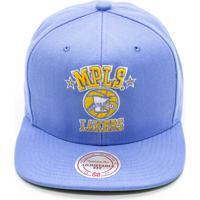 Dafiti  Boné Mitchell   Ness Lã Solid Nba La Lakers Snapback Azul ae689a8ae5df2