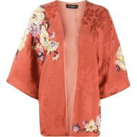 Etro Kimono Com Aplicação Floral - Laranja