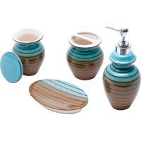 Conjunto De 4 Peças De Cerâmica P/Banheiro Vertigo (Verde E Marrom)