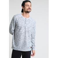Camiseta Masculina Texturizada Manga Longa Gola Portuguesa Cinza Mescla