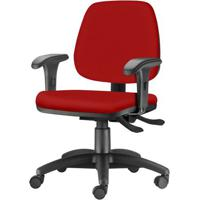Cadeira Job Com Bracos Curvados Assento Crepe Vermelho Base Rodizio Metalico Preto - 54617 - Sun House