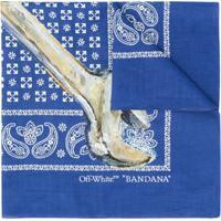Off-White Echarpe Com Estampa - Azul