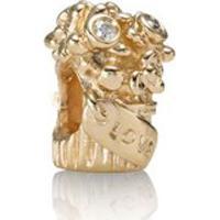 Charm Buquê Do Amor - Love Bouquet Gold Charm With 0.03Ct Tw - Único