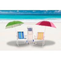 Kit 2 Cadeiras De Praia+2 Guarda Sol+ Carrinho Mesa Bel Lazer - Unissex