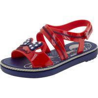 Sandália Infantil Feminina Minnie Charm Grendene Kids - 22107 Azul/Vermelho 25