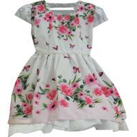 Vestido Infantil Floral Festa - Tam 1 Ao 3