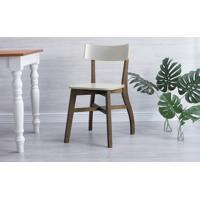 Cadeira De Mesa De Jantar Bella - Castanho E Off White 44X51X82 Cm