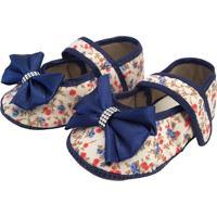 Sapatinho Anna Baby Floral Azul