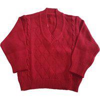 Blusa De Lã Com Losangos E Tranças Tricô Kids Vermelho