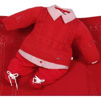 Saída De Maternidade Beth Bebê Caio Tricô Vermelho