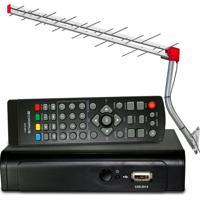 Kit Completo Tv Digital: Conversor Digital Hdtv + Antena Uhf 28 Elementos + Cabo
