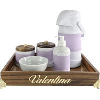 Kit Higiene Provenã§Al Dourado Com Nome Lilã¡S Quarto Beb㪠Infantil Menina - Roxo - Menina - Dafiti