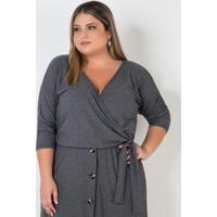 Blusa Transpassada Plus Size Cinza