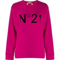 Nº21 Blusa De Moletom Com Logo - Rosa