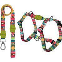 Kit Guia Premium + Peitoral Smart Keramas Dog Trip Brasil Colorido