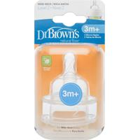 Bico Silicone Fase 2 Mamadeira Options Boca Larga Dr Browns - 2 Unidades Branco