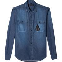 Camisa John John Laurence Jeans Azul Masculina (Jeans Medio, M)