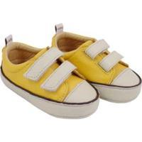 Tênis Infantil Couro Catz Calçados Noody Velcro - Unissex-Amarelo+Branco