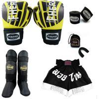 Kit Muay Thai Fheras Top - Luva Bandagem Bucal Caneleira Shorts - Elite 14 Oz